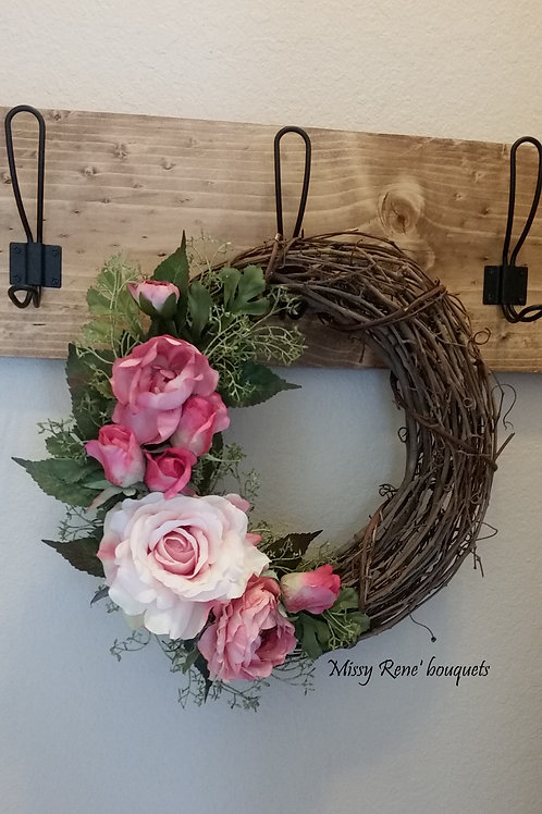 Small Rose Wreath Decor  Pink Rose Wreath  Victorian Grapevine Wall Decor  by Mi
