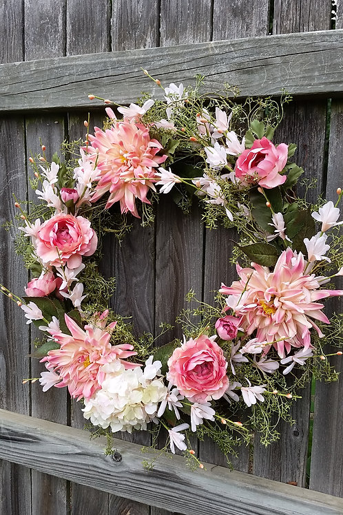 Vintage Blush Pink & Peach Wreath