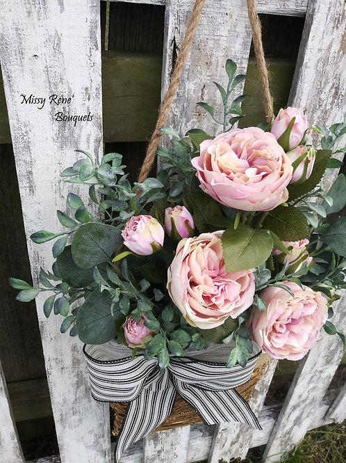 English Blush Rose Basket Hanger, Front Door Décor, Summer Wreath, Spring Wreath