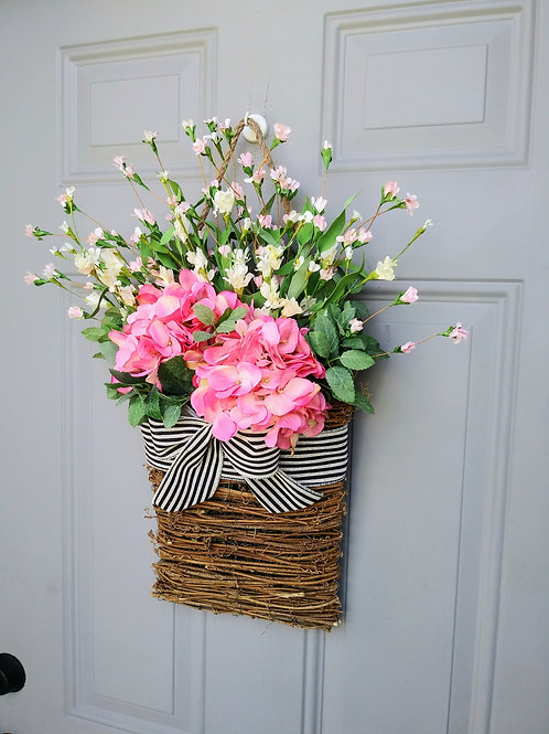 Basket Wreath for Front Door, Pink Hydrangea Flower Basket, Summer Wreath, Sprin