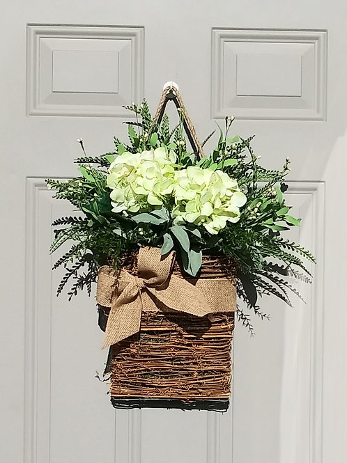 Basket Wreath for Front Door, Green Hydrangea Flower Basket, Summer Wreath, Spri