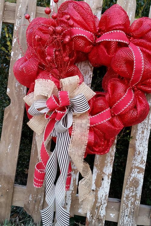 Valentine's Day Wreath, Heart Wreath, Deco Mesh Wreath, Valentine's Day Decor, R