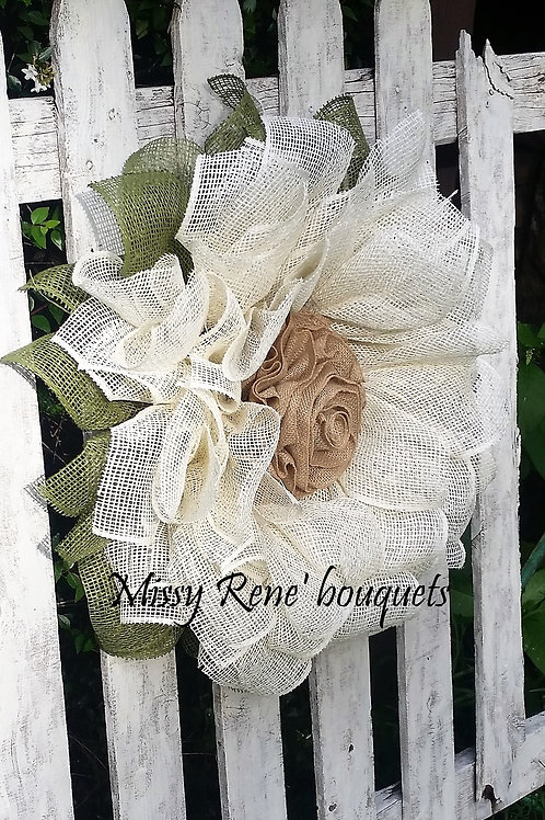 Ivory Sunflower Wreath for Front Door, Fall Decor, Sunflower Burlap Wreath, Deco
