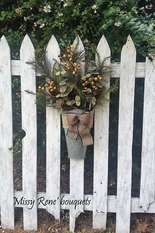 Fall Wreath for Front Door, Fall Bucket Hanger, Buffalo Check and Burlap Bucket