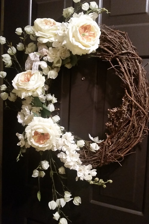 VICTORIAN WREATH - Large Grapevine Wreath with Cream & White Flowers-  Wedding D