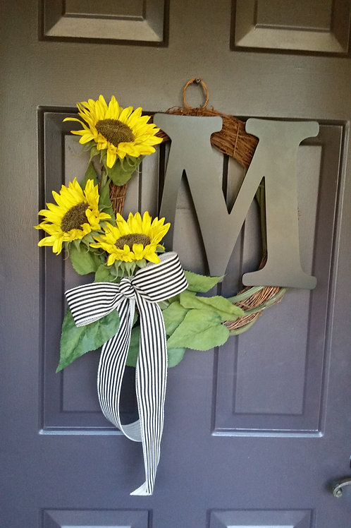 Sunflower Wreath, Summer Wreath, Monogram Wreath, Fall Wreath, Autumn Wreath, Mi