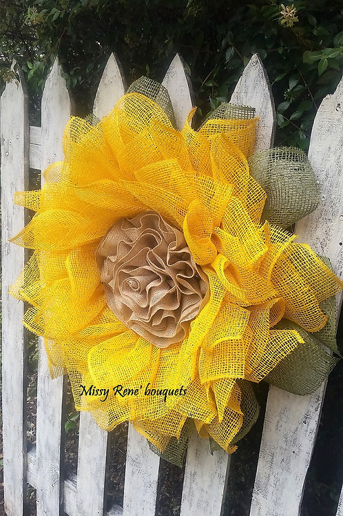 Yellow Sunflower Wreath for Front Door, Fall Decor, Burlap Wreath, Deco Mesh Wre