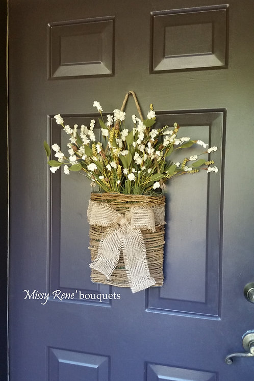 Basket Wreath for Front Door, White Flower Wreath, Summer Wreath, Fall Wreath, S