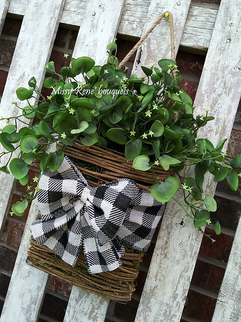 Greenery Basket Hanger Wreath for All Year -  Summer Spring Fall Winter Wreath