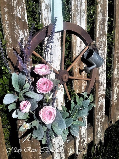 Farmhouse Wreath, Wagon Wheel Wreath, Lambs Ear Wreath, Ranunculus Wreath, Laven