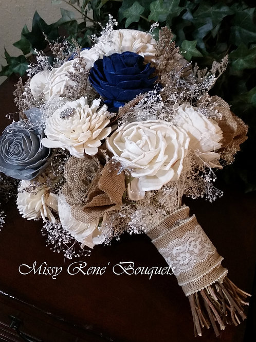 Bridal Bouquet  Navy Blue Bouquet, Sola Flower Bouquet, Wedding Bouquet, Dried N