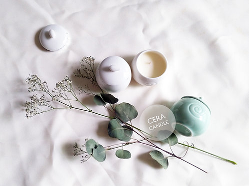 Cera Candle in Pearly Glazed mini ceramic pot with cotton pouch