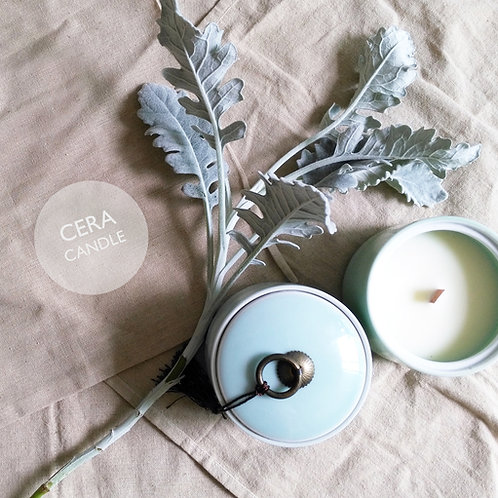 CERA Candle in Spring Glazed Jade Green Ceramic