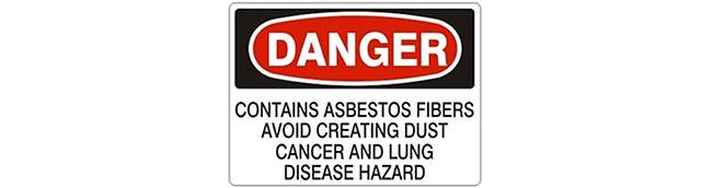 sign- DANGER contains asbestos fibers