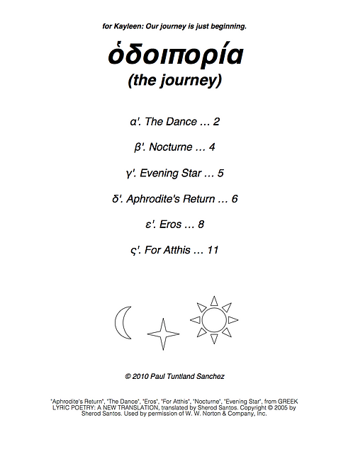 the journey: six settings of poems by Sappho (PDF)