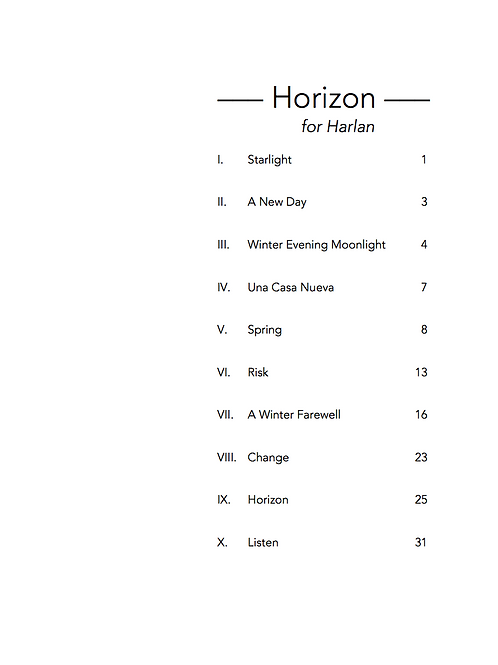 Horizon: for Harlan, 10 Songs for Voice and Piano (PDF)