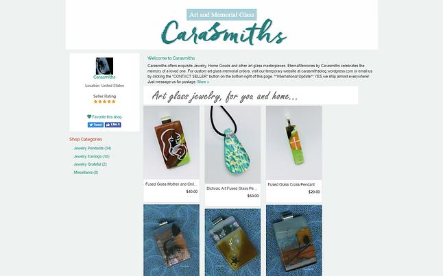 Carasmiths EternaMemories art glass jewelry