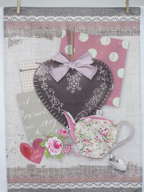 Dish Towel - Heart / Teapot