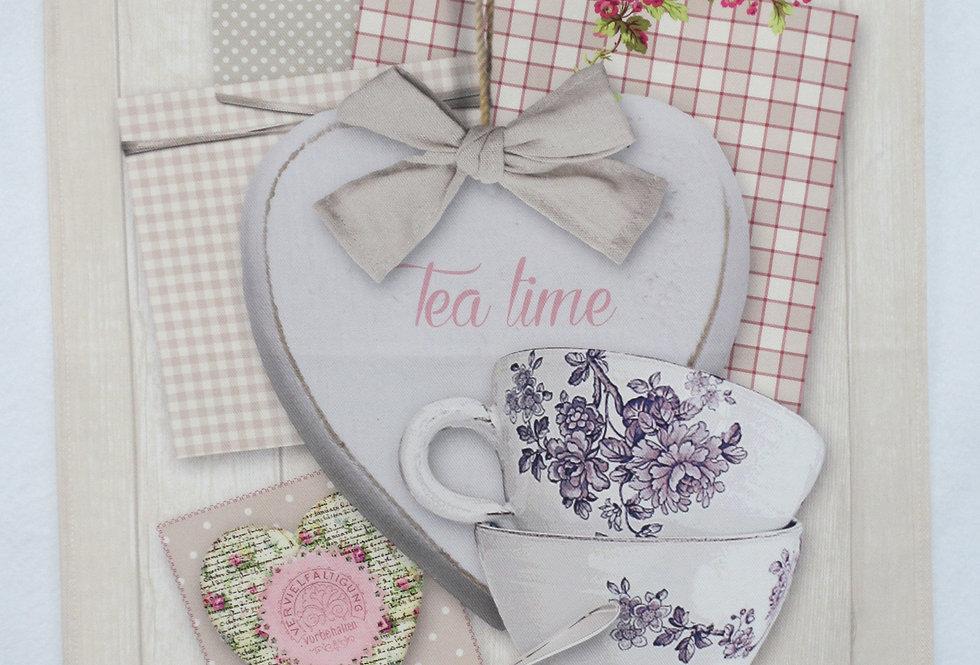 Dish Towel - Heart / Tea Cups
