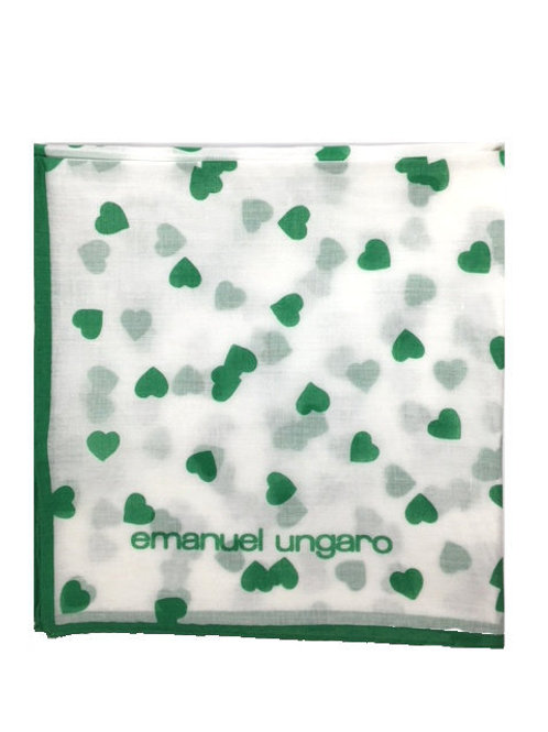 UNGARO Heart Collection Cotton Scarf – Green Hearts