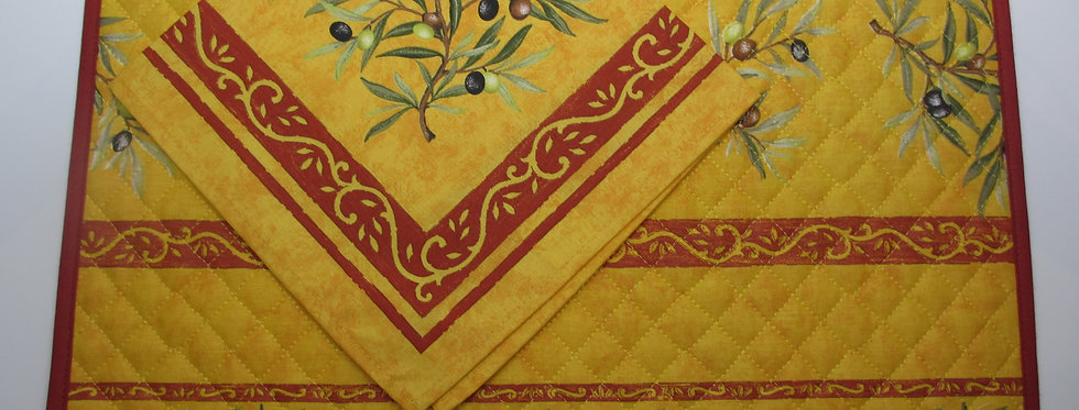 """Set of 4 placemats and 4 napkins, """"Oliviers Safran"""""""