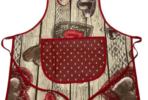 Wipe-off Acrylic-coated Kid's Apron for young chefs and artists (Hearts)