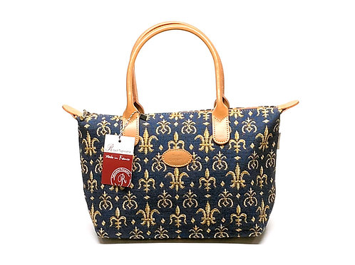 "Royal Tapisserie Hand Purse, ""Fleur de Lys"" - Blue"