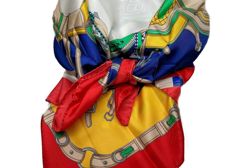 French Designer Rodier Equestrian Silk Scarf - GN