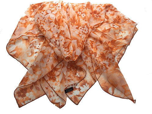 ELLE Orange Floral, made in France Silk Scarf  - 1010945-1