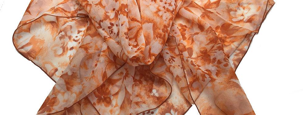 ELLE Orange Floral, made in France Silk Scarf  - 1010945-1