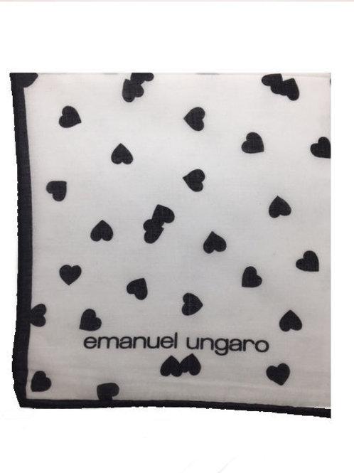 UNGARO Heart Collection Cotton Scarf – Black Hearts