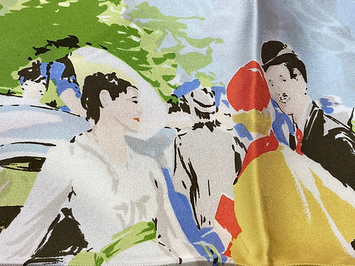 "French Designer Silk Scarf - L'illustration ""Belle Epoque"" OrFr"