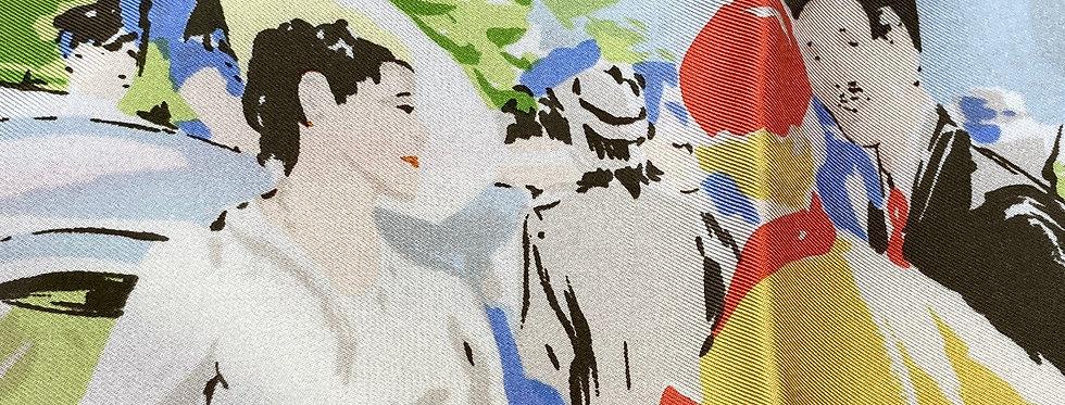 "French Designer Silk Scarf - L'illustration ""Belle Epoque"" OrFr"