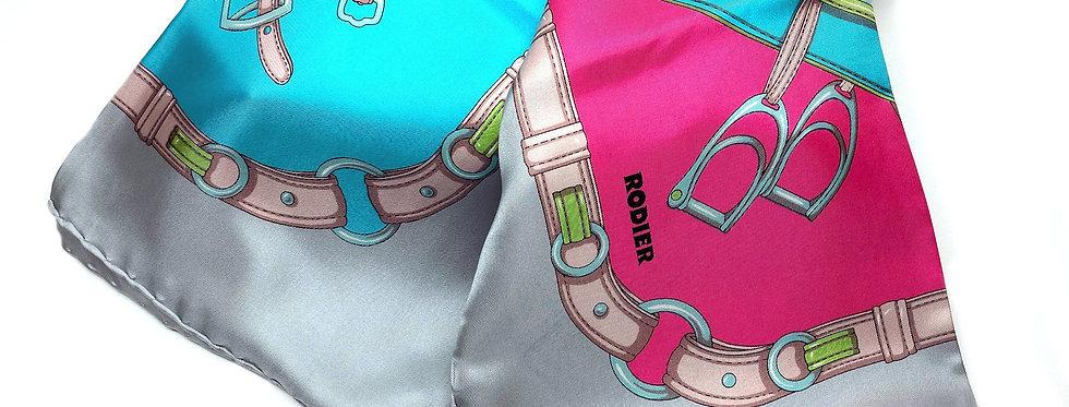 French Designer Rodier Equestrian Silk Scarf - GrFr