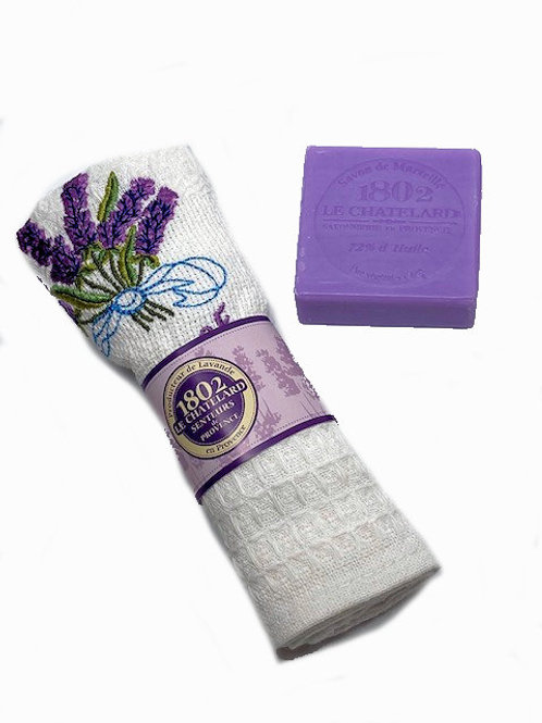 Lavender Gift Set : 1 embroidered handtowel + 1 lavender soap bar (W)