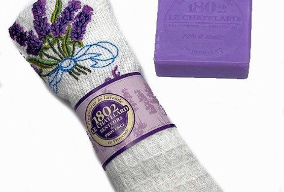 Lavender Gift Set : 1 embroidered handtowel + 1 lavender soap bar (W)