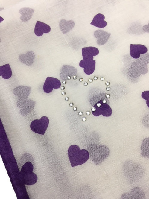 UNGARO Heart Collection Cotton Scarf – Purple Hearts