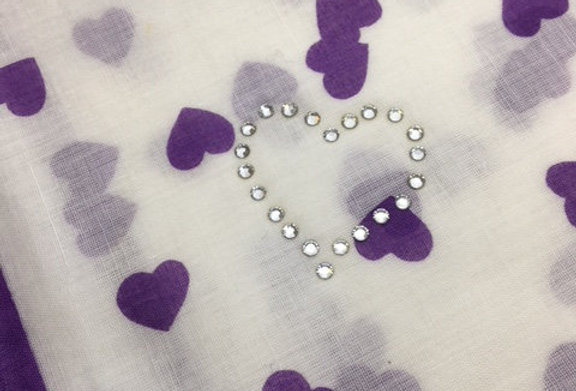UNGARO Heart Collection Cotton Scarf – Purple Hearts