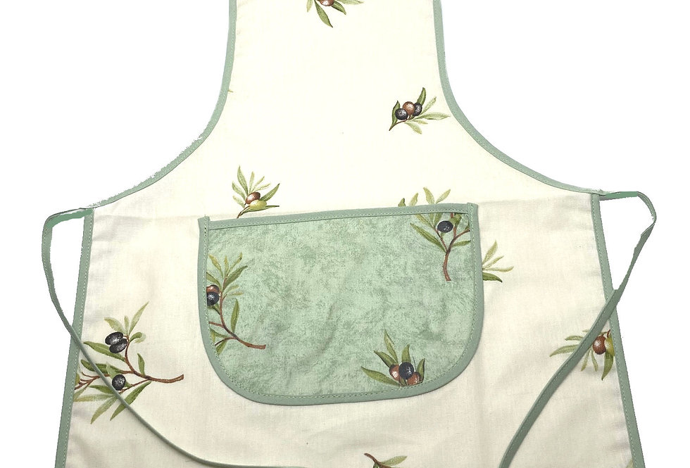 Wipe-off Acrylic-coated Kid's Apron for young chefs and artists (Olives)