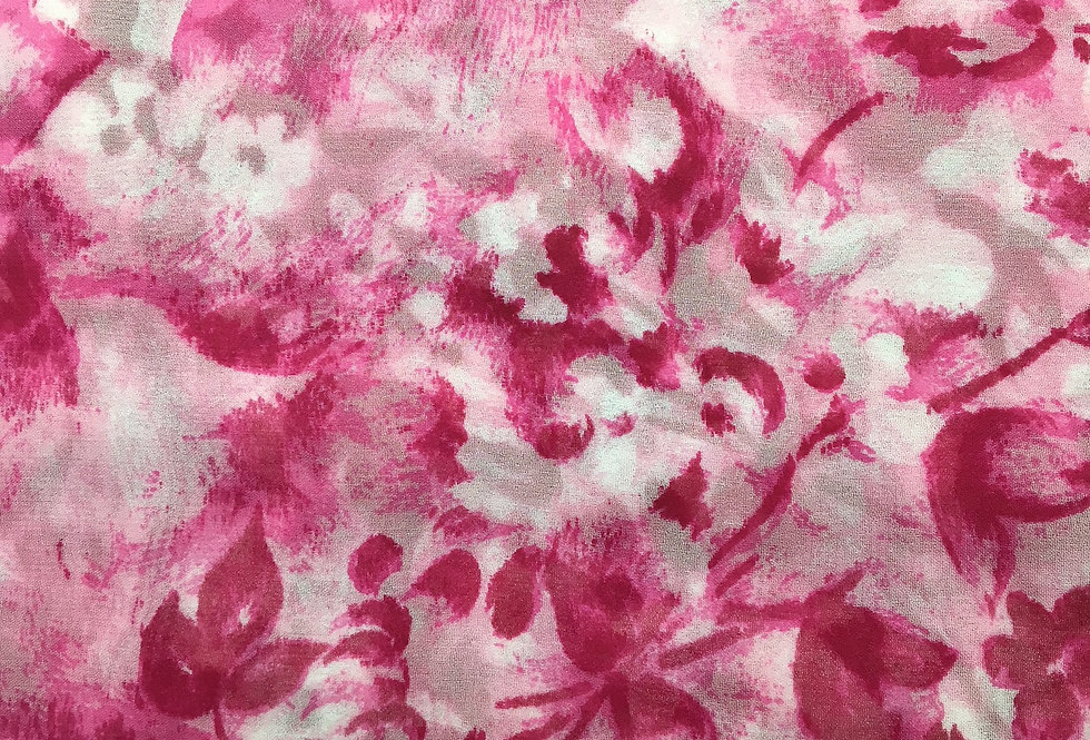 ELLE Raspberry Floral, made in France Silk Scarf  - 1010945-3