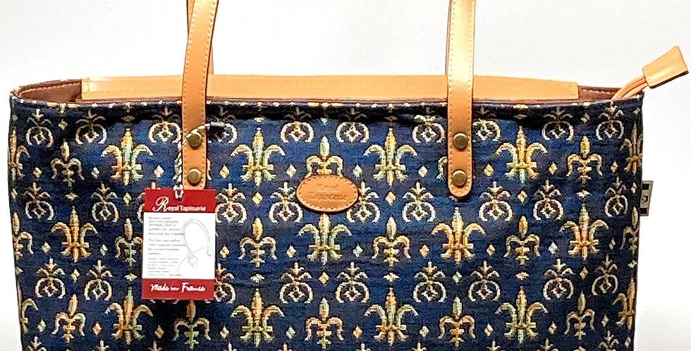 """Royal Tapisserie Small Tote Bag, """"Fleur de Lys"""" - Blue"""