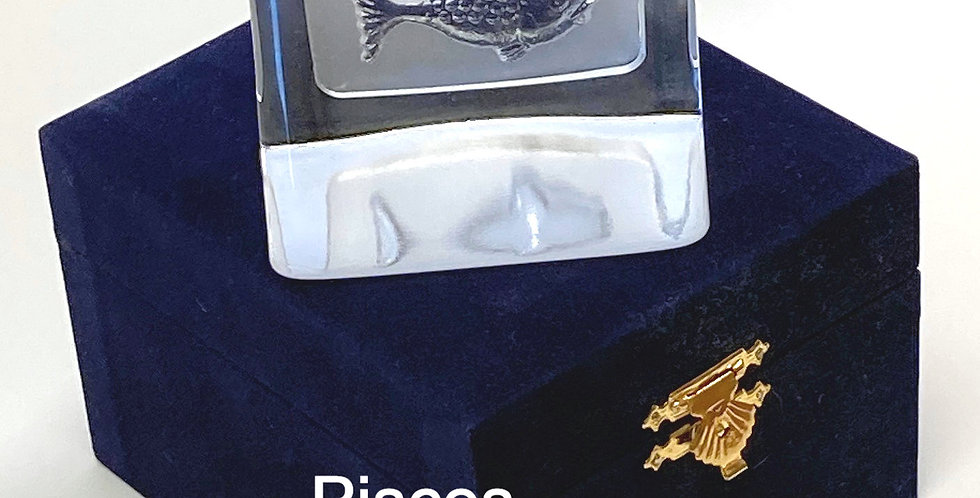 Zodiac  Crystal Paperweight in VELVET box