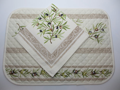 """Set of 4 placemats and 4 napkins, """"Oliviers Ecru"""""""