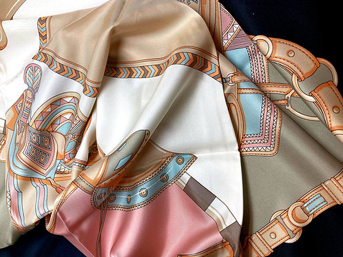 French Designer Rodier Equestrian Silk Scarf - BlFr