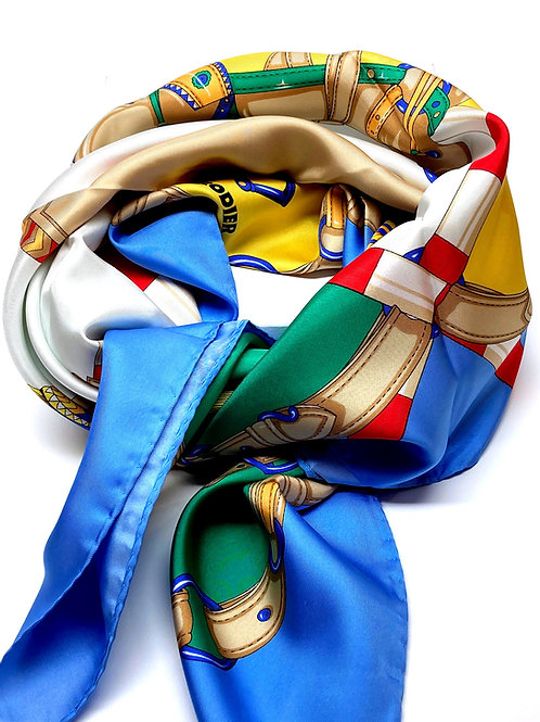 French Designer Rodier Equestrian Silk Scarf - SbY