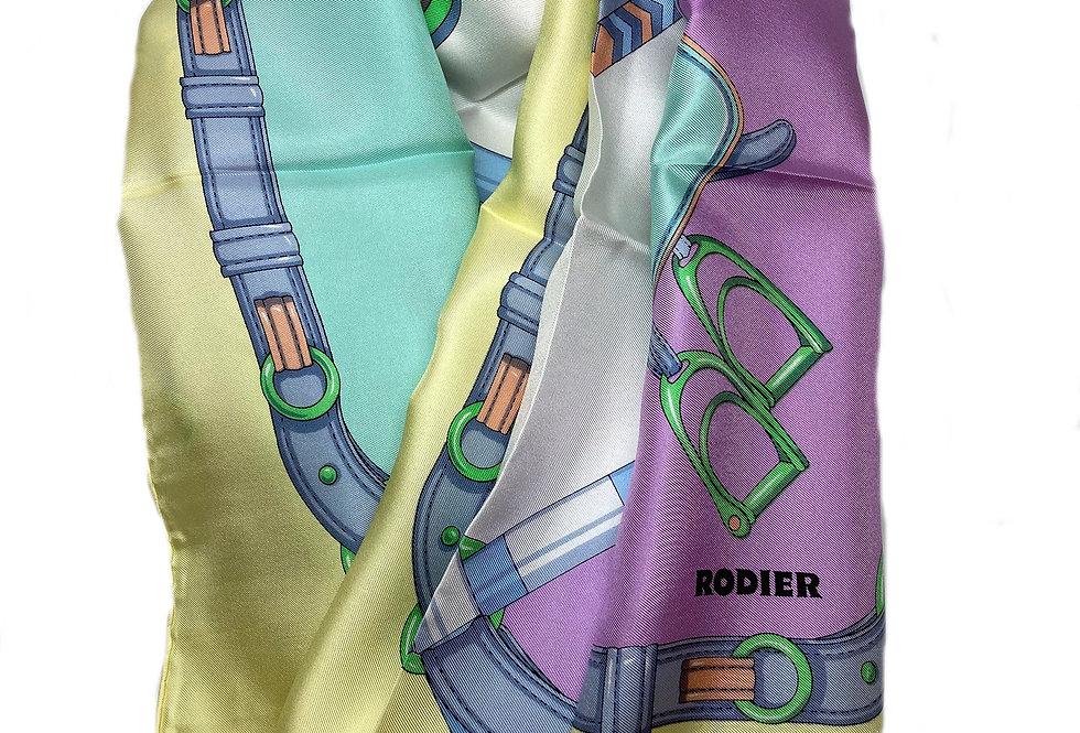 French Designer Rodier Equestrian Silk Scarf - YM