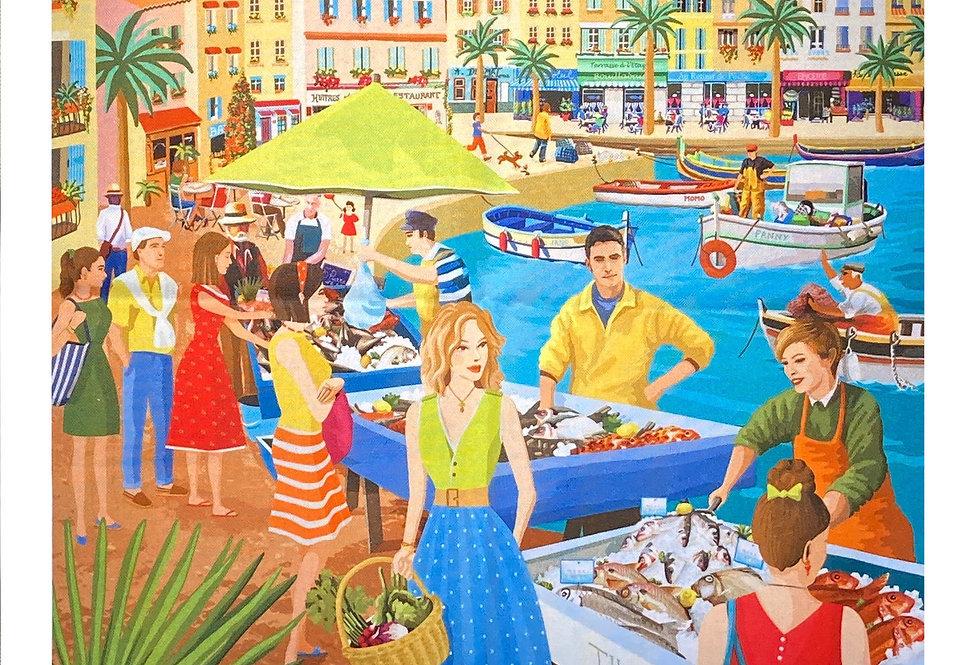 "Decorative Dish Towel ""Fish Market in Provence"""