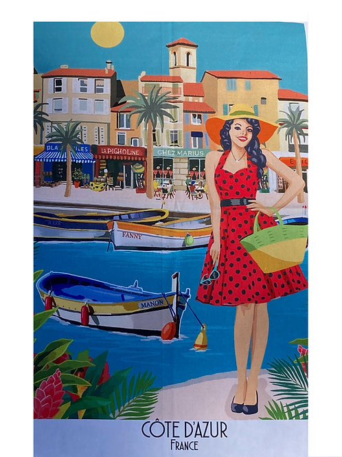 "Decorative Dish Towel ""French Riviera - Cote d'Azur"""