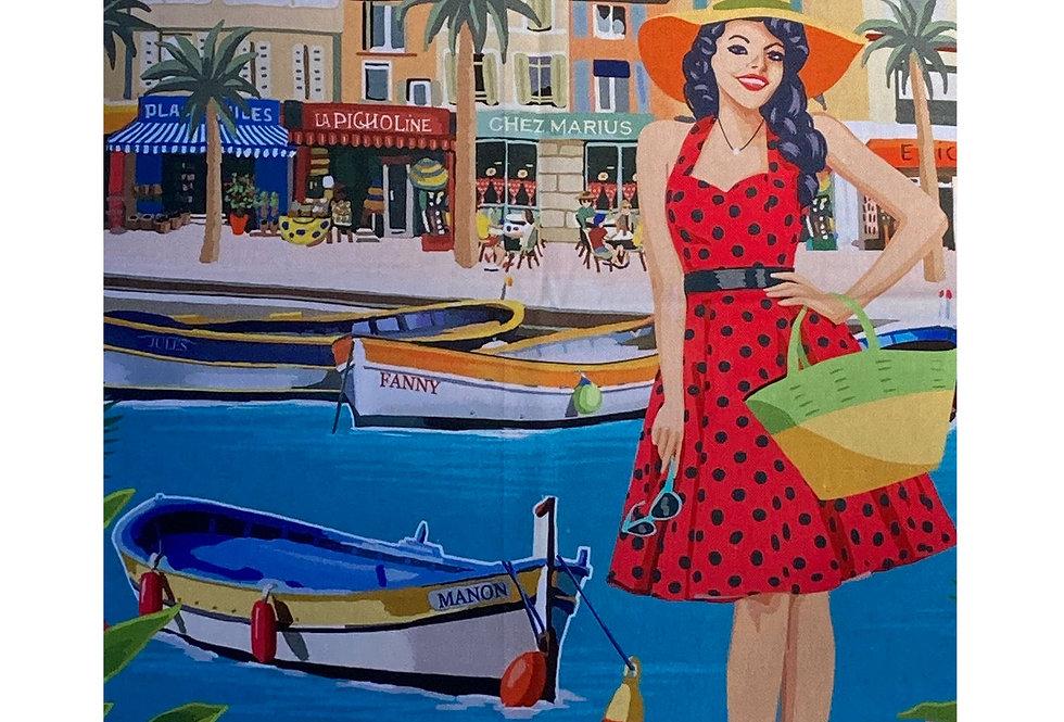"Decorative Dish Towel ""French Riviera - Cote d'Azur"""