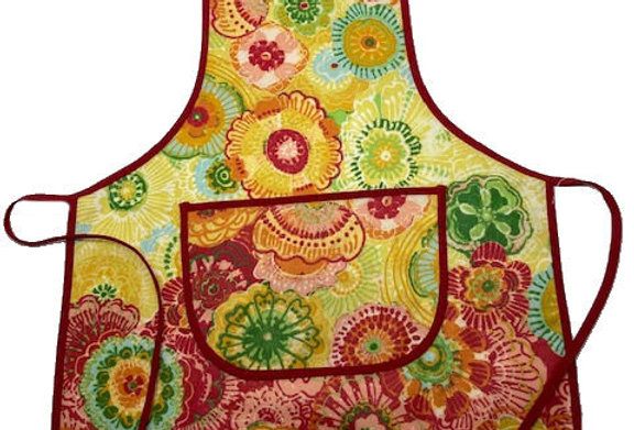 Wipe-off Acrylic-coated Kid's Apron for young chefs and artists (Flowers)